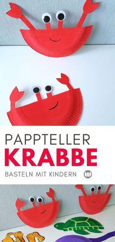 Krabbe basteln aus Papptellern