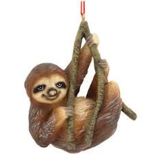 Smiling Sloth Resin Ornament