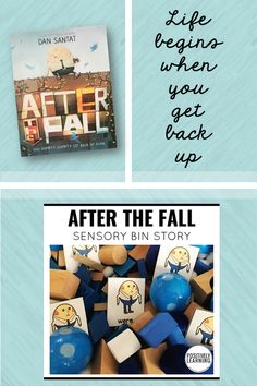 Explore the message and humor of After the Fall with these sensory bin activities! Mentor sentence, story vocabulary, sight words, and more included. From Positively Learning Blog #afterthefall #sensorybin #mentorsentence #growthmindset