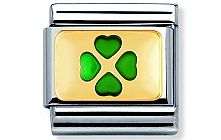 Nomination stainless steel and 18ct gold Green four-leaf-clover Classic Charm with Enamel