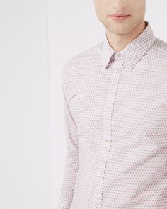 Geo tile print cotton shirt - Red | Shirts | Ted Baker