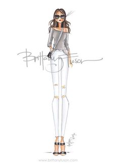 Brittany Fuson: How to Transition White Jeans to Fall Ballet Fashion, Fashion Dolls, Fashion Art, Girl Fashion, Fashion Outfits, Fashion Design, Fashion Illustration Sketches, Fashion Sketches, Fashion Drawings