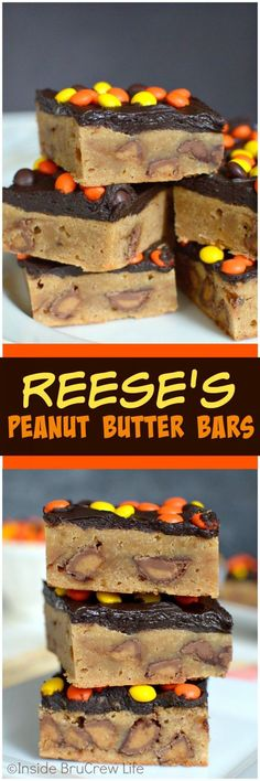 Reese's Peanut Butter Bars - these peanut butter brownies are loaded with Reese'. Reese's Peanut Butter Bars - these peanut butter brownies are loaded with Reese's candies and chocolate frosting. This dessert recipe will disappear in no time! Reese's Peanut Butter Bars, Peanut Butter Desserts, Brownie Desserts, Köstliche Desserts, Delicious Desserts, Yummy Food, Tasty, Picnic Desserts, Coconut Desserts