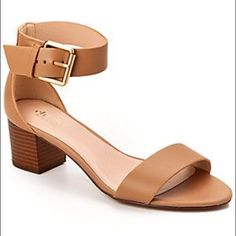 camel single strap sandal Worn twice. One inch heel. Perfect with a pair of boyfriend jeans. Size 6. Urban Outfitters Shoes