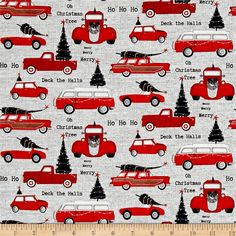 Dt-K Signature Around Town Cars Allover Gray from @fabricdotcom  From Dt-K Designs for Studio e fabrics, this cotton print collection brings a modern flair to primitive colorways in this christmas quilting collection. From retro cars, to stars, and cheerful Santas, it is perfect for quilting, apparel, and home decor accents. Colors include shades of red, grey, black, and white.