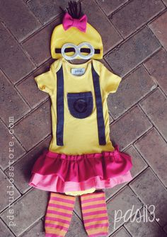 Halloween Despicable Me Minion Bodysuit Baby Girl Costume on Etsy, $40.00