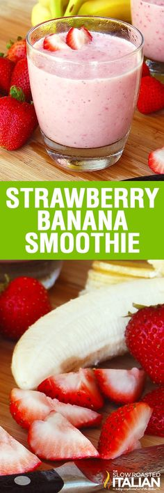 Strawberry Banana Smoothie is our favorite breakfast drink recipe! It ...