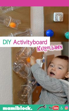 DIY activityboard ball track for children under 2 years homemade - DIY activity board super quick and easy to make yourself: The ball track for tinkering is very simp - Toddler Learning Activities, Montessori Activities, Infant Activities, Toddler Activity Board, Baby Sensory Play, Baby Sensory Bags, Sensory Wall, Baby Games, Toddler Toys