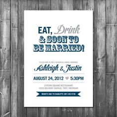 Rehearsal Dinner Invitation Card  Printable by TheLovePaperCo, £10.00