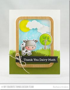 Farm Friends Stamp Set and Die-namics, Blueprints 21 Die-namics, Puffy Clouds Die-namics, Grassy Hills Die-namics, Stitched Sentiment Strips Die-namics, Single Stitch Line Rounded Rectangle Frames Die-namics - Barbara Anders  #mftstamps
