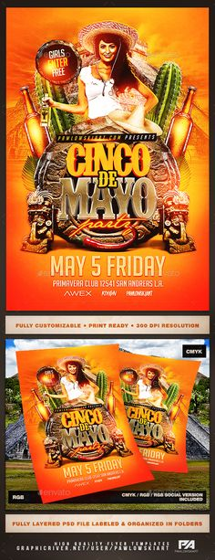 Cinco de Mayo v3 Flyer Template — Photoshop PSD #flag #fiesta • Download ➝ https://graphicriver.net/item/cinco-de-mayo-v3-flyer-template/19568607?ref=pxcr