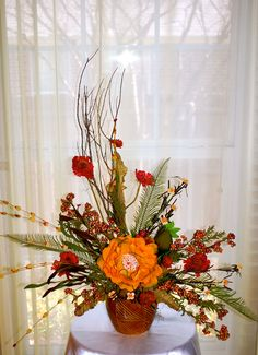 Silk Arrangements @ www.kimscreationsflowers.com Silk Arrangements, Centerpieces, Table Decorations, Holiday Tables, Fall Flowers, Flower Arrangement, Florals, Fun, Design