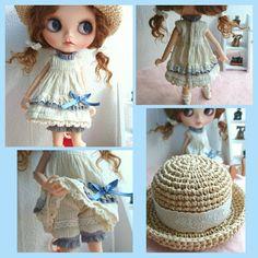 **Blythe outfit** ワンピース、お帽子セット ☆handmade_画像2