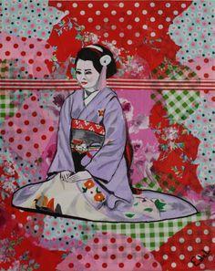Purple Geisha Acrylic + decoupage on canvas Size: cm Decoupage Canvas, Nagasaki, Canvas Size, Disney Characters, Fictional Characters, Footprints, Disney Princess, Purple, Paintings