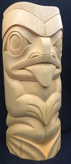 """...""""frog totem""""...terry horne...coast salish artist..carver....vancouver..british columbia...work in yellow cedar...Primarily Wood FB via John Cannell FB"""