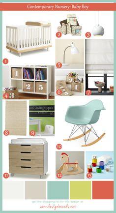Contemporary Baby Boy Nursery_Design Board