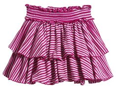 Daily Threads striped smocked tiered skort for girls in Hot Pink with attached undershort. Sizes 3/6m to 14, $39. #kidsclothes #kidsfashion #madeinamerica #americanmade #madeinUSA