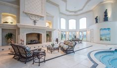 An indoor pool is one of the many luxuries this house offers.