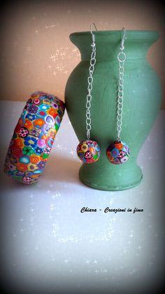 Parure con bangle e orecchini in #fimo eleganti con murrine multicolore idee regalo donna, by Chiara - Creazioni in fimo, 11,70 € su misshobby.com