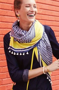 Westwood Tassel Scarf in Navy and Yellow   Stella & Dot  Add a little touch of prep to your Spring wardrobe with this luxurious striped scarf. The tassels add just the right amount of trend!