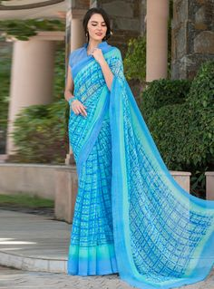 Sky Blue Georgette Printed Saree With Blouse 80560