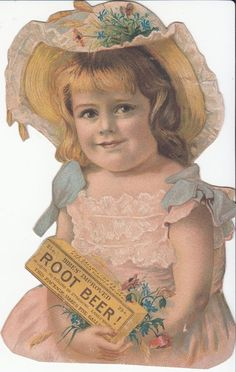 Hires Imported Root Beer Girl in Bonnet Cut-out Victorian Trade Card 1880s