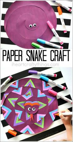 This painted paper snake craft for kids is a fabulous open ended craft where children will have fun designing a one-of-a-kind snake. This painted paper snake craft for kids is a Summer Crafts For Kids, Summer Kids, Projects For Kids, Diy For Kids, Diy Projects, Science Projects, Spring Crafts, Craft Activities For Kids, Preschool Crafts