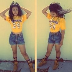 •• Shades of Yellow •• Lakers | T-Shirt | Jean Shorts | Tims  | Summer Outfit