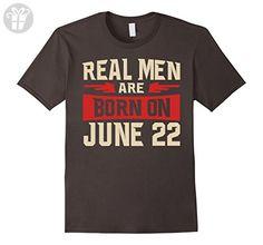Mens Real men Are Born On June 22 T-shirt - Birthday TShirt Large Asphalt - Birthday shirts (*Amazon Partner-Link)