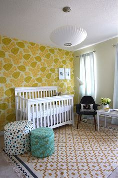 cheerful room with fun mix of patterns (IKEA rug)
