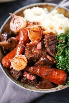 Comforting Beef Bourguignon in a deliciously rich sauce
