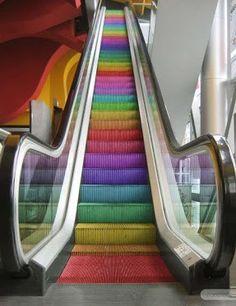 colorful escalator!