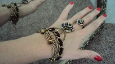bracelet   ring  goth  rose   jewelry  copper  leather