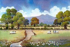Watercolour Print Pen-Y-Fan BreconBeacons by Pamelajonesartstudio