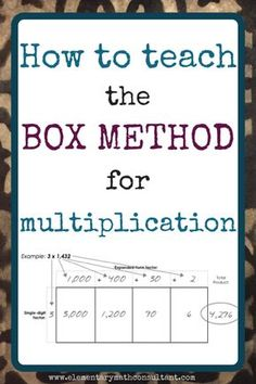 What is the Box Method for multiplication? The box method is a strategy for multiplying large numbers. It is an alternative to the standard algorithm for multiplication. The box method is based on an area array representation of multiplication Math Strategies, Math Resources, Math Activities, Multiplication Strategies, Math Games, Teaching Multiplication, Division Strategies, Math Tips, Math Skills