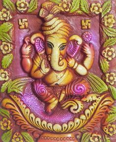 Sitting Ganesha on a Plaque - Wall Hanging (Terracotta)