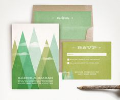 Triangle Mountains Wedding Invitation and RSVP - Mid Century Modern - Geometric Rustic - Green Woodland - Printed or Printable - TAOS