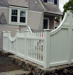 Picket Fence and Gate : Transition Fence : High Low Fence : Stone Base Low Fence, Front Yard Fence, Fence Gate, Privacy Walls, Privacy Fences, White Picket Fence, Picket Fences, White Vinyl Fence, Wooden Fences