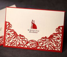 Red Wedding Invitations Laser Cut Design Groom and Bride invitations Printable Cards - Pack of 50