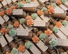 """Mint wedding favors - Set of 24 mint rolls - """"Mint to be"""" favors with personalized tag - burlap, mint and peach, rustic, shabby chic"""