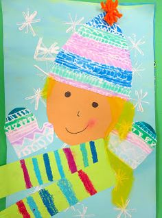 In the Art Room: Printed and Collaged Winter Self Portraits by Second Grade (Cassie Stephens) Winter Art Projects, Winter Crafts For Kids, School Art Projects, Art For Kids, Classroom Projects, Diy Projects, Portraits For Kids, Snowflakes Art, Cassie Stephens