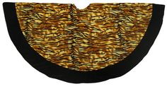 "$29.99-$39.99 Tiger Print Christmas Tree Skirt Item #22103 This fun tree skirt is super soft. Features a black border and a striking Tiger print body. Design goes all the way around. Fabric hook and loop fastener closure Dimensions: 48"" diameter Material: Plush Spot clean with mild detergent, do not wash"