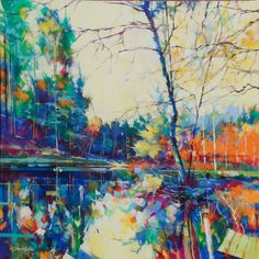 Meadowcliff Pond, acrylic on canvas, semi abstract landscape painting of the Forest of Dean by Doug Eaton