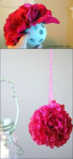 Hanging Flower Balls: Buy a few wiffle balls from the toy section at the Dollar Store. Gather some of your favorite silk flowers and pull the stems off. Now, take a matching ribbon and tie it through two holes making a loop to be hung. Add hot glue around the circles of the ball and press a flower into each hole until it's completely full. Voilà!