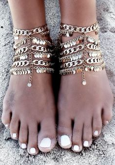 Front view of model adorned in paillette boho anklet