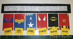 Superhero Teacher Appreciation Bulletin Board Idea Everything I need to know, I learned from my Super Heroes Superhero Bulletin Boards, School Bulletin Boards, School Classroom, Classroom Themes, Superhero Classroom Decorations, Library Decorations, Classroom Board, School Office, Superhero School Theme