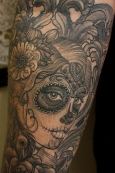 Day of the dead inspired tattoo (beautiful detail) - done by May Rushmer at Freestyle Tattoo in Canberra, Australia