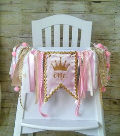 Crown Pink and Gold High Chair Banner, Can Be Used As Wall Banner, High Chair…