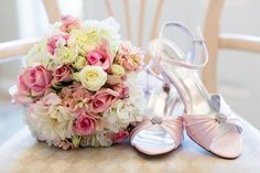 Wedding Day Shoes Light Pink Heels Pink and Cream Rose Bouquet | The-Palms-Chico-California-Wedding-Photographer