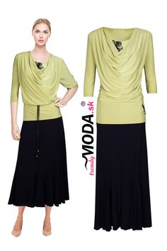 6df31762f895 Elegantné dlhé čierno - zelené úpletové dámske šaty s atraktívnou  aplikáciou vo výstrihu a na ľavom
